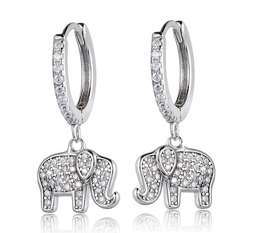 Diamonique 0.4ct tw Elephant Drop Earrings Sterling Silver