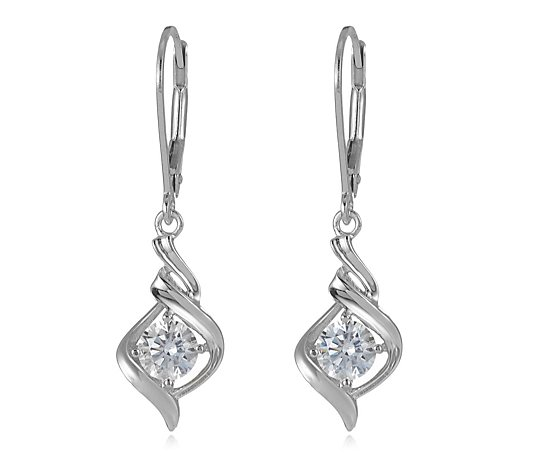 Diamonique 1ct tw Twist Earrings Sterling Silver