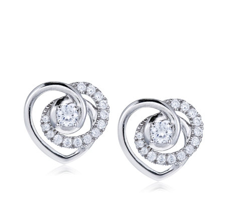 Diamonique 0.45ct tw Swirl Heart Stud Earrings Sterling Silver