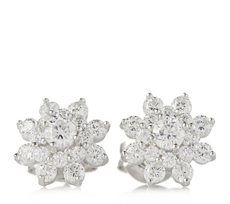 Diamonique 0.8ct tw Cluster Stud Earrings Sterling Silver