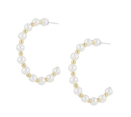 Honora 5 6mm Cultured Pearl Hoop Earrings Sterling Silver
