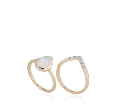 Lisa Snowdon Moonstone & Diamond Wishbone Ring Set Sterling Silver