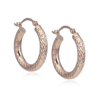 9ct Gold Diamond Cut Creole Hoop Earrings In Red Bauble 336905