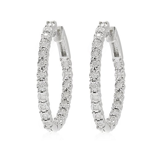 0.45ct Diamond Huggie Hoop Earrings Sterling Silver