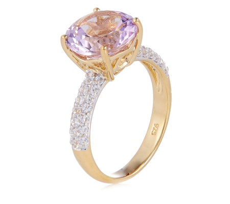2.85ct Pink Amethyst & 0.22ct White Topaz Pave Ring Sterling Silver