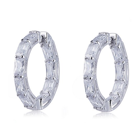 Diamonique 4.5ct tw Radiant Cut Hoop Earrings Sterling Silver