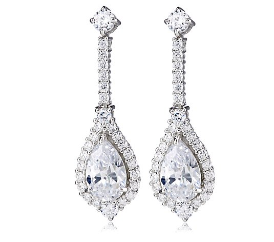 Diamonique 8.5ct Bridal Teardrop Earrings Sterling Silver