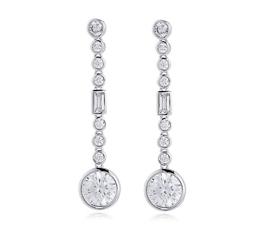 Diamonique 3.8ct tw Bezel Drop Earrings Sterling Silver