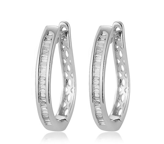 0.25ct Diamond Baguette Huggie Hoop Earring 9ct Gold