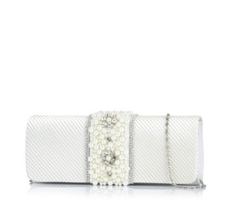 Frank Usher Satin & Faux Pearl Occasion Clutch Bag - 306106
