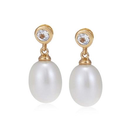 Links Of London Pearl White Topaz Drop Earrings Sterling Silver