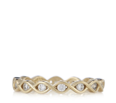 Diamonique 0.8ct tw Twisted Eternity Ring Sterling Silver