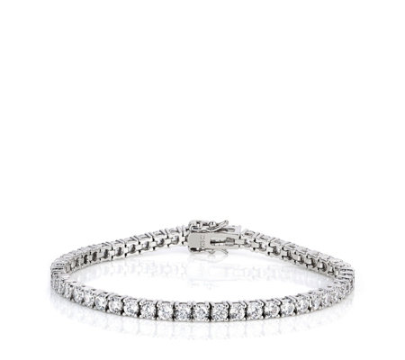 Diamonique 100 Facet 7.2ct tw-8.8ct tw Tennis Bracelet Sterling Silver