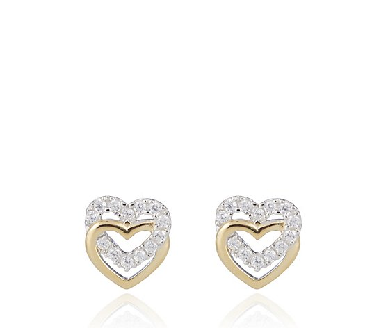 Diamonique 0.2ct tw Double Heart Stud Earrings Sterling Silver