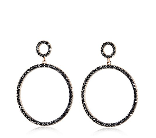 Diamonique 1.4ct tw Double Circle Earrings Sterling Silver