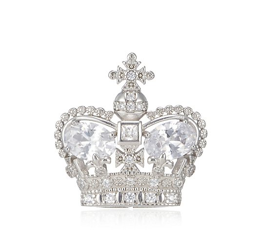 Butler & Wilson 25th Anniversary Sterling Silver Crown Clutch Pin Brooch