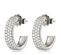 Folli Follie Fashionably Silver Sparkle Mini Hoop Earrings - 311307