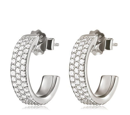 Folli Follie Fashionably Silver Sparkle Mini Hoop Earrings