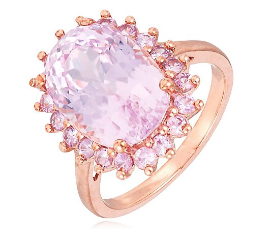 6.00ct Kunzite & 0.88ct Pink Sapphire Halo Cocktail Ring 9ct Gold