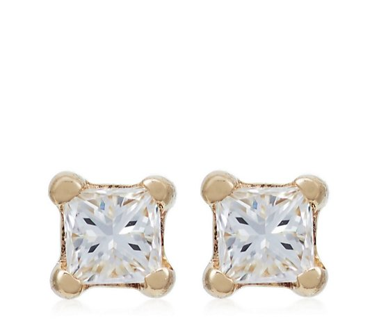 0.05ct Diamond Princess Cut Stud Earrings 9ct Gold