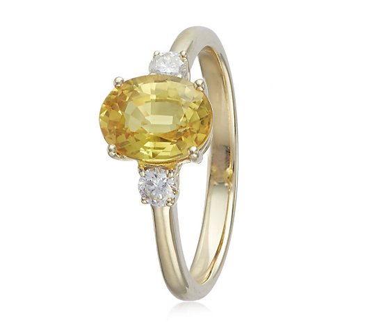 1.25ct Yellow Sapphire & 0.15ct Diamond 3 Stone Ring 9ct Gold