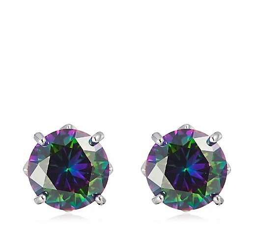 Diamonique 3.5ct tw Simulated Alexandrite Stud Earrings Sterling Silver
