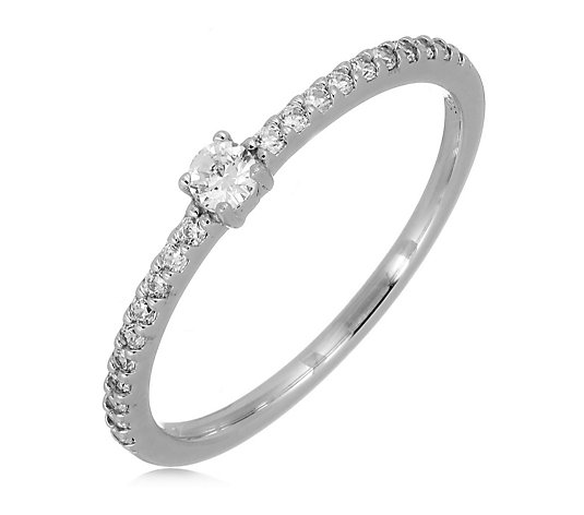 Diamonique 0.30ct tw Solitaire Pave Ring Sterling Silver