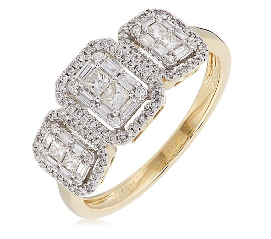 0.50ct Diamond Princess Baugette & Brilliant Cut Halo Trilogy Ring 9ct Gold