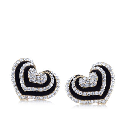 Frank Usher Layered Heart Crystal Clip On Earrings