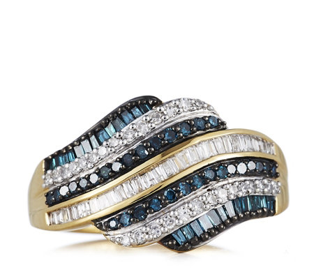 0.50ct Treated Blue & White Diamond Wave Ring Sterling Silver
