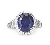 Diamonique 9.2ct tw Simulated Tanzanite Pave Ring Sterling Silver - 334908