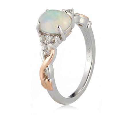 Clogau 9ct Rose Gold & Sterling Silver Tree of Life Opal White Topaz Ring