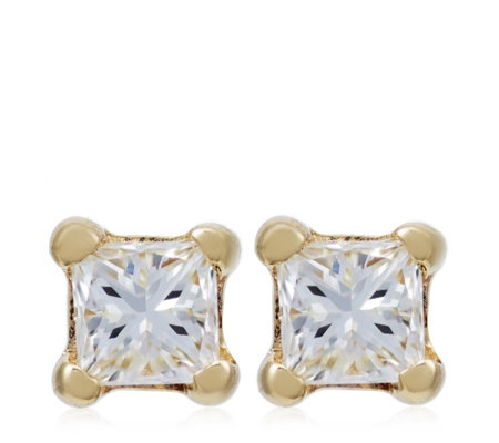 0.10ct Diamond Princess Cut Stud Earrings 9ct Gold