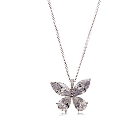 Michelle Mone for Diamonique 10ct tw Butterfly Pendant & Chain Sterling Silver