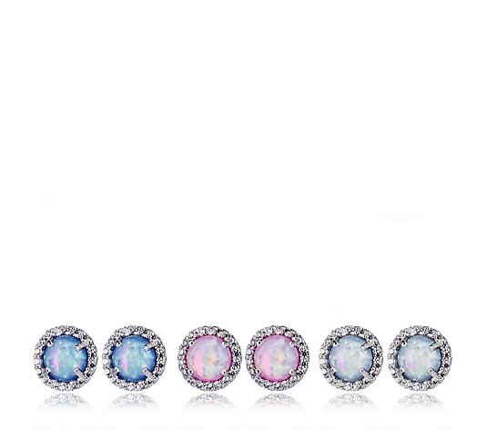 Diamonique 1.5ct tw Set of 3 Simulated Opal Earrings Sterling Silver