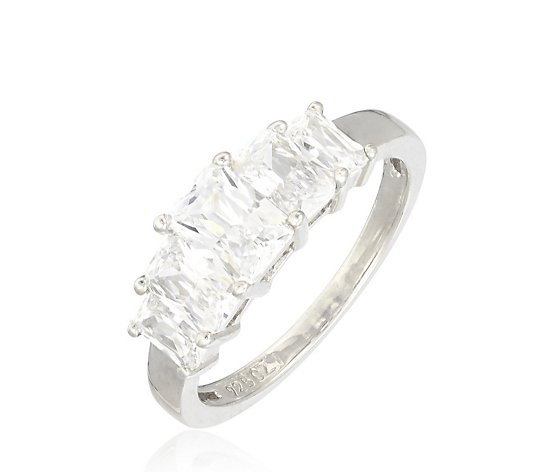 Diamonique 5ct tw 5 Stone Radiant Cut Ring Sterling Silver