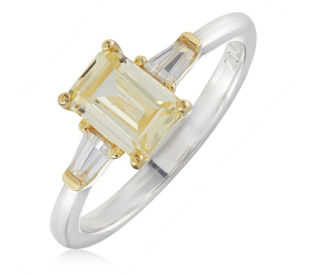 Diamonique 2ct tw Emerald Cut Ring Sterling Silver
