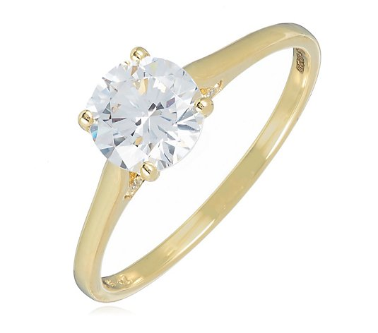 Diamonique 1.6ct tw Solitaire Ring 9ct Gold