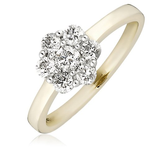 0.70ct Diamond Solitaire Cluster Ring 9ct Gold