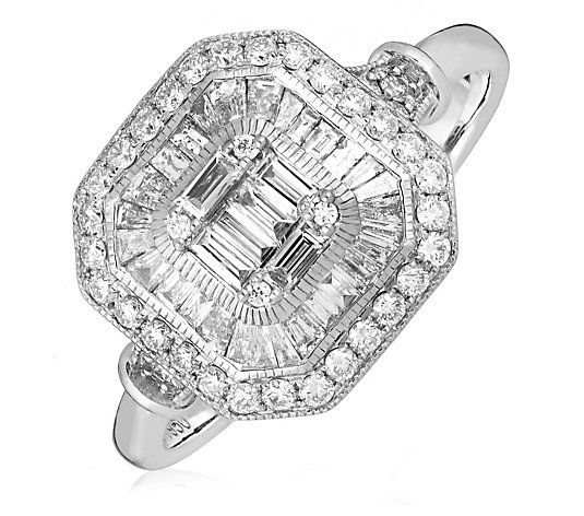 0.75ct Diamond Estate Collection Mixed Cut Octogon Ring Platinum