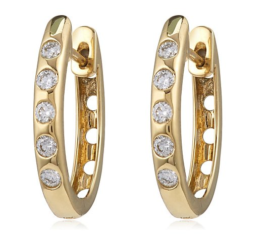 0.33ct Diamond Flush Set Huggie Hoop Earring 18ct Gold