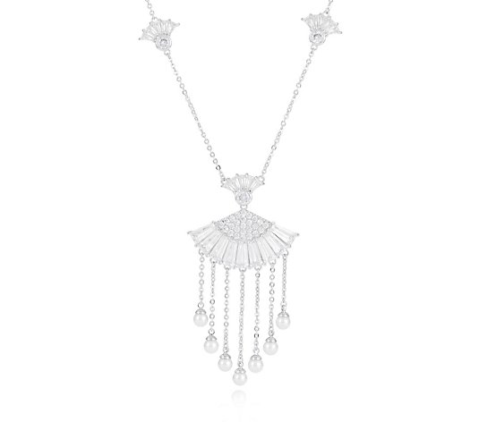 Butler & Wilson Crystal Fan with Drop Crystals 41cm Necklace