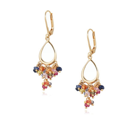 Lisa Snowdon Multi Tourmaline Drop Earrings Sterling Silver