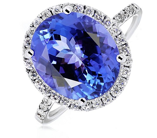 5.50ct AAAA Tanzanite & 0.40ct Diamond Halo Ring 18ct White Gold
