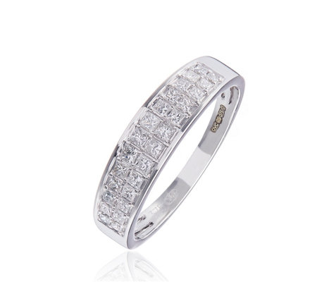 0.50ct Diamond Double Row Princess Cut Ring 9ct Gold