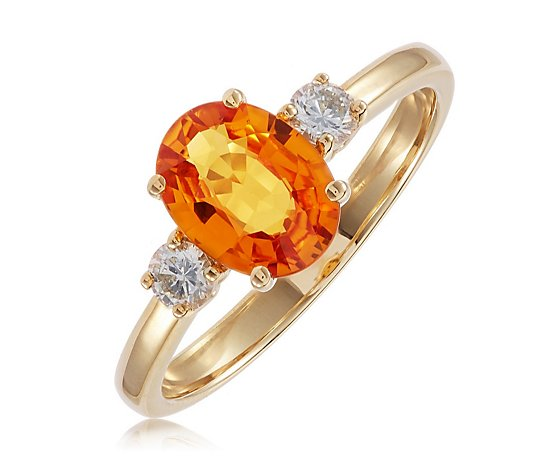 1.25ct Orange Sapphire & 0.15ct Diamond 3 Stone Ring 9ct Gold