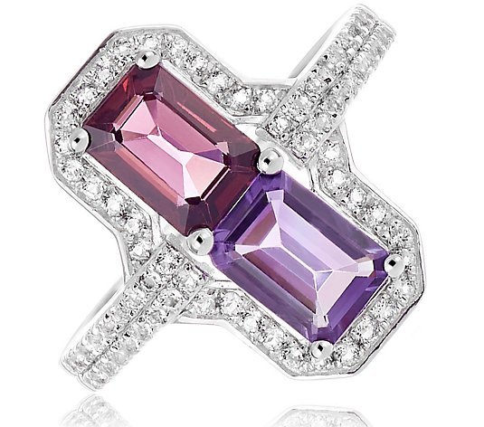 2.00ct Amethyst & Rhodolite Octagon Ring Sterling Silver
