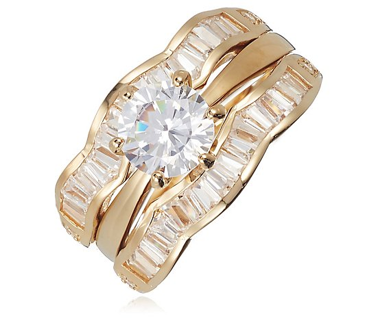 Diamonique 2.3ct tw Baguette Ring Set Sterling Silver