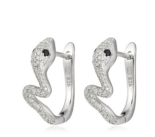 0.33ct Diamond Snake Huggie Hoop Earrings