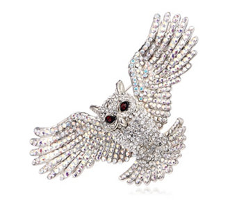 Butler U0026 Wilson Open Wings Crystal Owl Brooch   302010